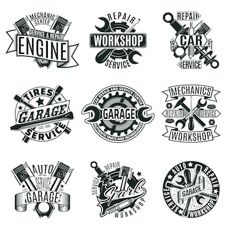 Monochrome car repair service logos set
