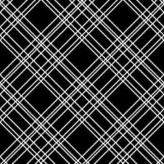 Monochrome check plaid black pixel seamless pattern