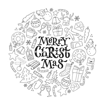 落書きで飾られたモノクロのクリスマスカード