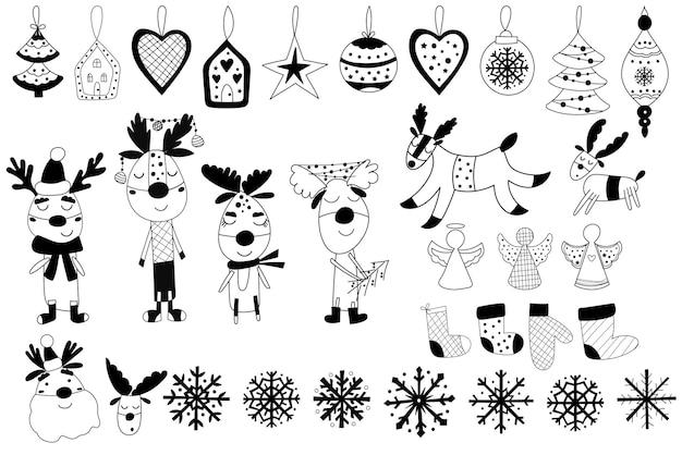 흑백 크리스마스 클립아트는 장식품, 산타클로스, 순록으로 구성되어 있습니다. 벡터 일러스트 레이 션.