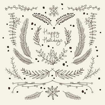 Monochrome christmas greeting card with branches