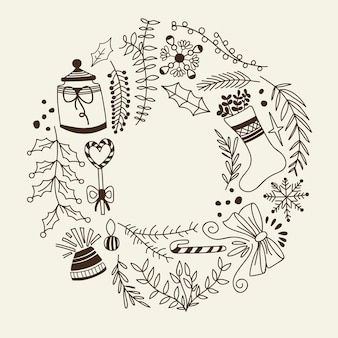 Monochrome christmas wreath decorative elements doodle with holiday and creative elements