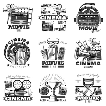 Monochrome cinema emblems