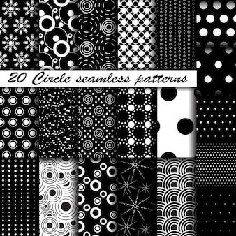 Monochrome circle seamless patterns