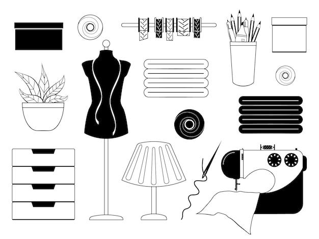 ソーイングアクセサリーのモノクロコレクション。ベクトルイラスト。漫画のスタイル。白で隔離されたオブジェクト。