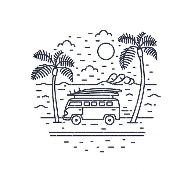 キャンピングカートレーラーまたはキャンピングカー、エキゾチックなヤシの木、海と輪郭線で描かれた太陽の白黒の構図。夏休み、熱帯地方への遠征。モダンな直線的なスタイルのベクトルイラスト。