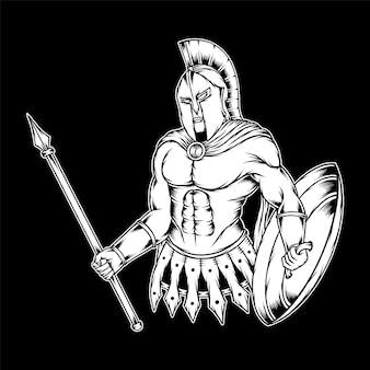 Монохромный прохладный спартанский рисунок. премиум векторы