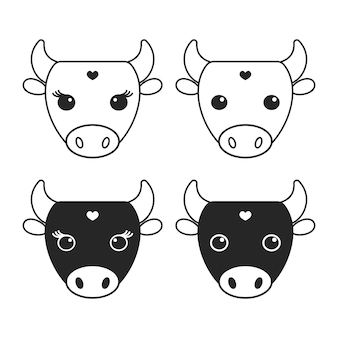 Monochrome cow logo illustration