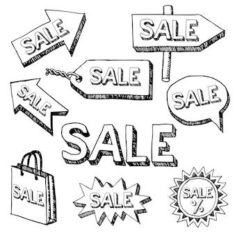 さまざまな矢印と単語販売のモノクロの創造的な現実的なポスター