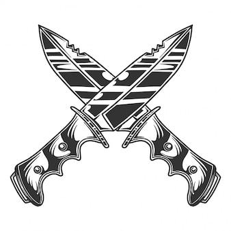 Monochrome crossed knifes image, retro style. isolated on white
