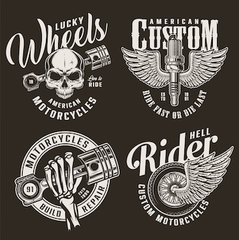 Monochrome custom motorcycle badges