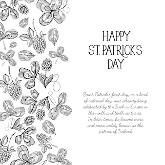 Monochrome decorative design sketch greeting card hand drawn with lettering about st. patricks day to the left with hop twigs and berries vector illustration