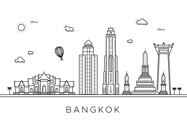 Monochrome design for outline landmarks skyline