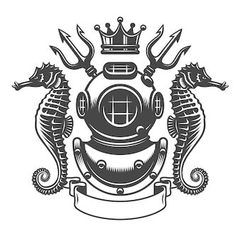 Monochrome diving label emblem