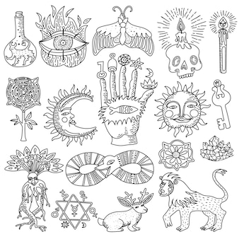 흰색 배경에 고립 된 유행 마술 문신 디자인의 흑백 낙서 세트
