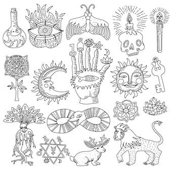 Insieme di doodle monocromatico di disegni alla moda del tatuaggio magico isolati su priorità bassa bianca