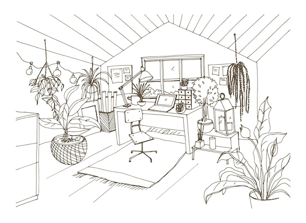 Monochrome drawing of cozy attic room furnished in modern scandinavian hygge style and decorated with light garlands, candles and potted plants