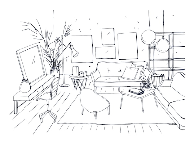 Monochrome drawing of interior of living room with sofa, chairs, coffee table and other modern furnishings. hand drawn sketch of apartment furnished in scandinavian or loft style. vector illustration.