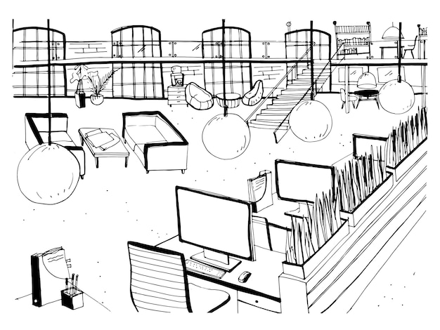 デスク、コンピューター、椅子、その他のモダンな家具を備えたオープンなコワーキングスペースの内部をモノクロで描いたもの。作業環境や大きなオフィスの手描きのスケッチ。ベクトルイラスト。