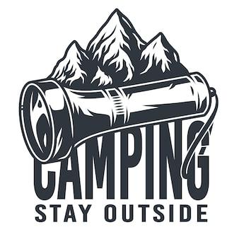 キャンプ用のモノクロエンブレムポケット懐中電灯