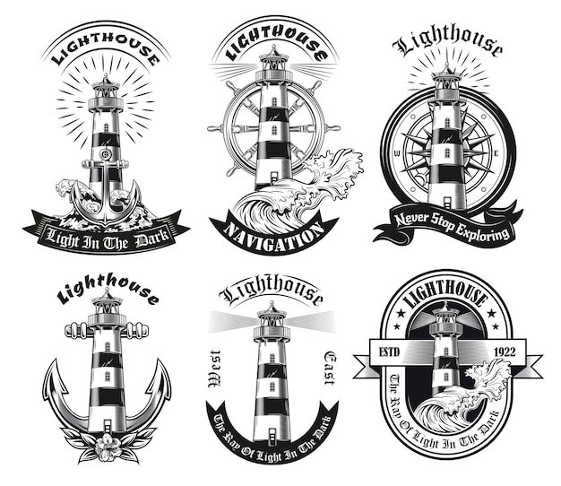 Monochrome emblems with lighthouse set
