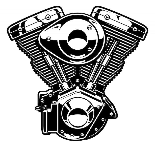 오토바이의 흑백 엔진