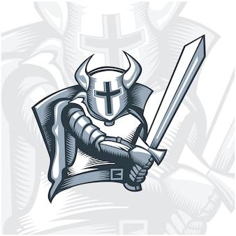 Monochrome fearless knight warrior.