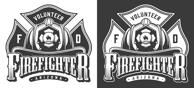 Monochrome firefighting emblems with crossbones and firefighter skull wearing helmet in vintage style illustration