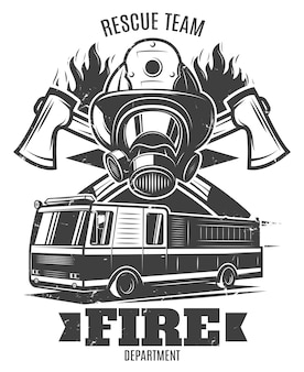 Monochrome firefighting illustration