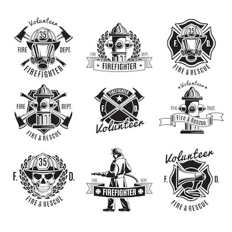 Monochrome firefighting labels set with fireman skull rescue tools
