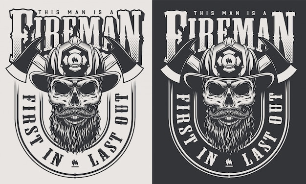 Monochrome fireman prints template with inscriptions skull in firefighter helmet in vintage style illustration