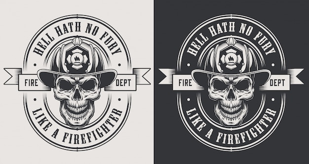 Monochrome fireman prints template