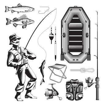 Monochrome fishing elements set