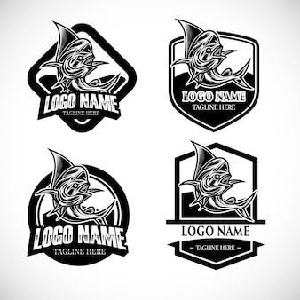 Набор монохромных рыболовных логотипов