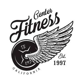 Monochrome fitness logotype with weight eagle wing inscription