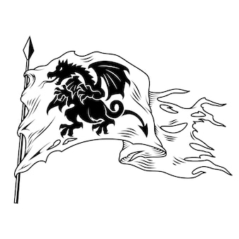 Monochrome flag with dragon