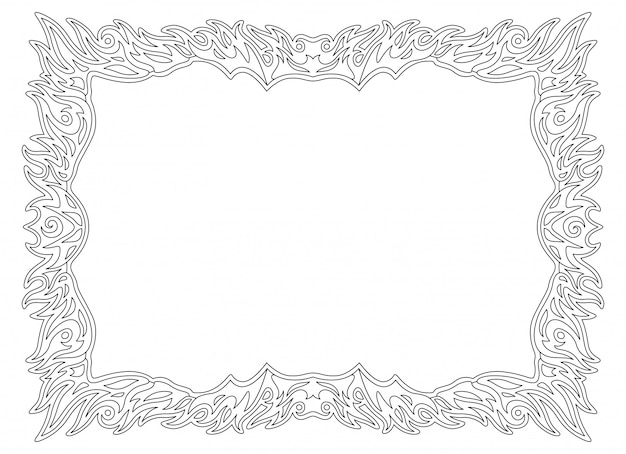 Monochrome flaming linear border for coloring book