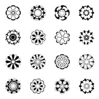 モノクロ花アイコンセット。黒い花のイラストが分離します。モノクロ花植物の黒い花のシルエットコレクション