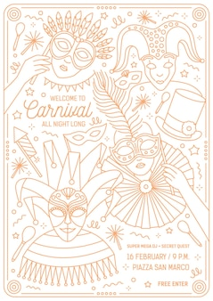Monochrome flyer, poster or invitation template for venetian masquerade ball, mardi gras carnival, festival or party with characters wearing festive masks