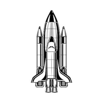 흑백 비행 로켓 벡터 일러스트 레이 션. 홍보 라벨 빈티지 우주선. 은하와 우주 탐사 개념은 복고풍 템플릿, 배너 또는 포스터에 사용할 수 있습니다.