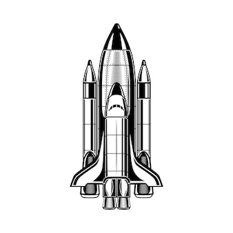 Monochrome flying rocket vector illustration. vintage spacecraft for promotional label. galaxy and cosmos exploration concept can be used for retro template, banner or poster