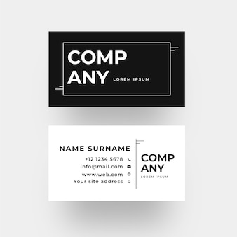Monochrome front and back business card