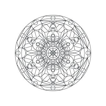 흑백 기하학적 만다라 얇은 라인 벡터 일러스트 레이 션. 흰색 절연 장식 장식