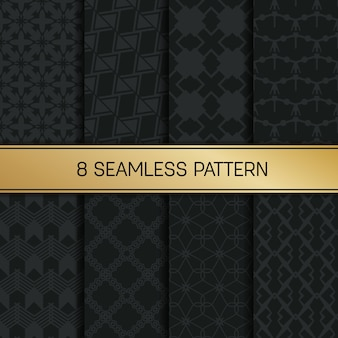 Monochrome geometric pattern background set.