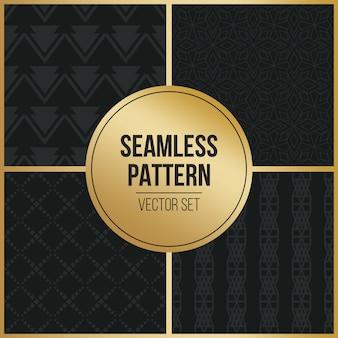 Monochrome geometric pattern background set