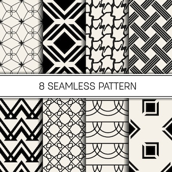 Monochrome geometric pattern set