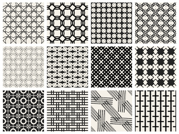 Monochrome geometric seamless pattern background.