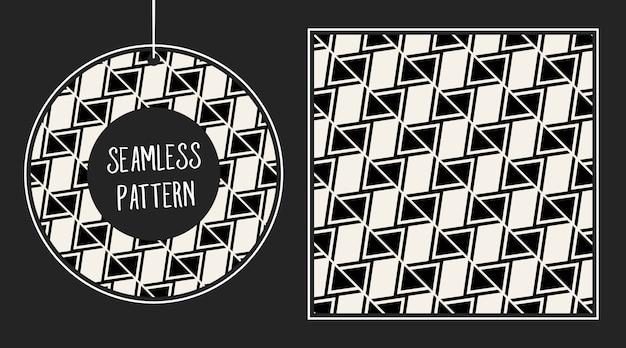 Monochrome geometric seamless pattern set.