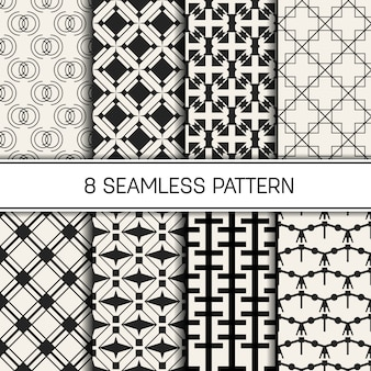 Monochrome geometric seamless pattern set.