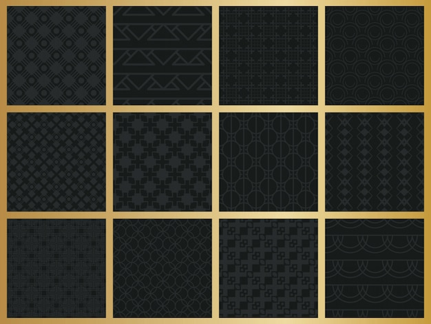 Monochrome geometric seamless pattern set